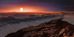 Umělecká představa pohledu spovrchu exoplanety Proxima Centauri b vblízkosti červeného trpaslíka (zdroj ESO, M. Kornmesser).