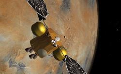 Umělecké zobrazení setkání pouzdra se vzorky a návratového modulu na dráze okolo Marsu (zdroj NASA/JPL-Caltech).