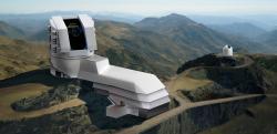 Grafické znázornění zasazení observatoře do okloního terénu.  Kredit: LSST