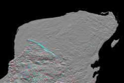 """Radarový snímek někdejšího """"Ground zero"""", tedy severního cípu Yucatánského poloostrova. Částečný obrys ohromného impaktního kráteru Chicxulub o průměru 180 až 240 kilometrů je dobře viditelný v jeho pravé horní části. Kredit: Wikipedie (volné dílo)"""