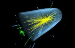 Podezřelý rozpad sfotony o energii 750 GeV (zelené čáry). Kredit: CERN.