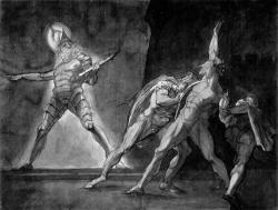 Hamlet, Horatio, Marcellus a duch Hamletova otce. Kredit: Henry Fuseli, 1780–5, Kunsthaus Zürich, volné dílo.