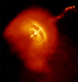 Extrémní prostředí pulzaru Vela vsouhvězdí Plachet. Kredit: NASA/CXC/PSU/G.Pavlov et al.