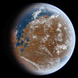 Dávný Mars, zatopený oceánem. Kredit: Ittiz / Wikimedia Commons.
