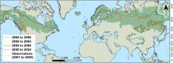 Zeleně je podbarven aktuální rozsah boreální oblasti. Barevnými čárami předpokládaný posun hraniceGDD(5)≥ 1200 pro konkrétní období. Kredit: Myron King, et.al., 1918.