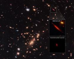 Galaxie MACS2129-1 ve vesmíru. Kredit: NASA, ESA, M. Postman (STScI), and the CLASH team.