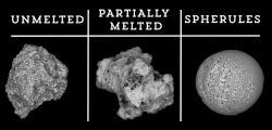 Mikrometeority. Kredit: Belgian antarctic meteorites and micrometeorites. Youtube. https://youtu.be/zi5ma_4aq3o