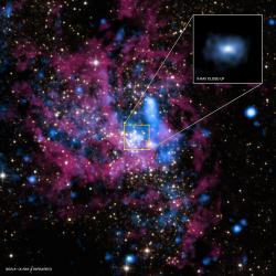 Sagittarius A* (Sgr A*), naše domácí supermasivní černá díra. Kredit: X-ray: NASA/UMass/D.Wang et al., IR: NASA/STScI.