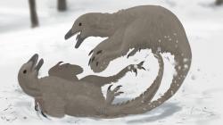 Pro vyvíjející se hominidy by ve světě přežívajících dinosaurů představovali největší hrozbu menší teropodi, jako jsou troodontidi druhu Stenonychosaurus inequalis. Tito patrně vysoce inteligentní, pohybliví a nebezpeční predátoři by představovali jakýsi ekologický ekvivalent velkých kočkovitých šelem. Kredit: Midiaou Diallo; Wikipedie (CC BY 3.0)