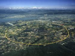 Velký srážeč LHC, pod Švýcarskem a Francií. Kredit: CERN.