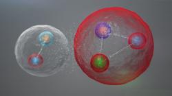 Pentakvark vpodobě volně spojeného mezonu a baryonu. Kredit: CERN / LHCb Collaboration.