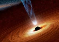 Supermasivní černá díra svýtryskem hmoty. Kredit: NASA / JPL-Caltech.