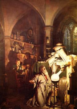 Alchymisté se snažili dosáhnout nesmrtelnosti vytvořením kamene mudrců, nebo elixíru života. (Kredit: Joseph Wright of Derby, 1771)