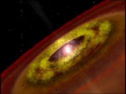 Divoce rostoucí hvězda typu T Tauri. Kredit: NASA.