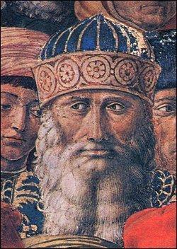 Gemistos Plethón. Malba v kapli paláce Medici-Riccardi ve Florencii, asi z roku 1560. Kredit: Wikimedia Commons. Volné dílo.