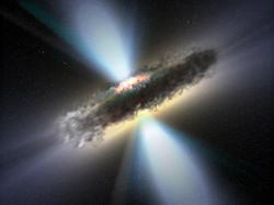 Kvasar s gigantickou černou dírou a mohutným akrečním diskem. Kredit: NASA.