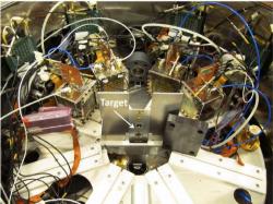 Experimentální zařízení použité při experimentu v italském ústavu LNL (zdroj L. Lamia et al: The Astrophysical Journal, 879:23, 2019).