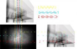 Se srovnání získaného obrazu rozborem detekce mionů smodelem vytvořenym skonstrukčních plánů je vidět, že voblasti, kde by měl být stín vytvořený palivem vaktivní zóně se žádný stín nenachází (zdroj TEPCO).