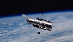 Hubbleův vesmírný dalekohled. Kredit: NASA.