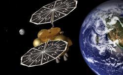 Jedna z uměleckých představ oddělení návratového pouzdra od transportního modulu a jeho vníknutí do zemské atmosféry (zdroj NASA/JPL-Caltech).
