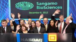 Sangamo Biosciences slaví. Kredit: Nasdaq.