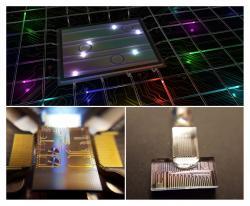 Fotonický čip smnohobarevnými fotony. Kredit: INRS University.