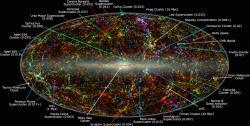 Mapa vesmíru. Velký Atraktor vyznačen dlouhou modrou šipkou vpravo dole. Kredit: IPAC/Caltech, Thomas Jarrett.