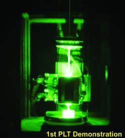 První test laserového fotonického pohonu vlaboratoři. Kredit: Photon999 / Wikimedia Commons