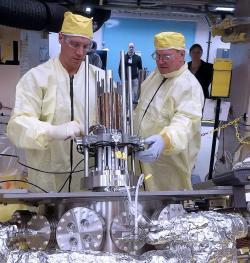 Prototyp reaktoru Kilopower při testech (zdroj NASA).