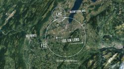 Prstenec budoucího FCC v blízkosti již existujícího LHC. Courtesy CERN.