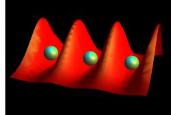 Rydbergovy atomy polapené vpastech zlaserových paprsků. Kredit: Sarah Anderson / University of Michigan.