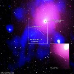 Exploze vkupě vHadonoši. Kredit: X-ray: NASA/CXC/Naval Research Lab/Giacintucci, S.; XMM:ESA/XMM; Radio: NCRA/TIFR/GMRTN; Infrared: 2MASS/UMass/IPAC-Caltech/NASA/NSF.