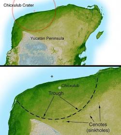 Kráter Chicxulub na Yucatánu. Kredit: NASA/JPL-Caltech.