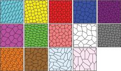 14 známých způsobů, jak vyplnit plochu shodnými pětiúhelníky. Kredit: Ed Pegg, Jr., Wikimedia Commons.