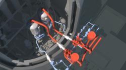 Umístění potrubí, na kterém je osm špatně přístupných svarů, které je potřeba opravit u bloku EPR Flamanville 3 (zdroj ANS).