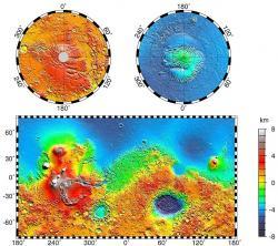 Topografie Marsu. Modrá by měla znamenat dávný oceán. Kredit: NASA / JPL-Caltech / GSFC.