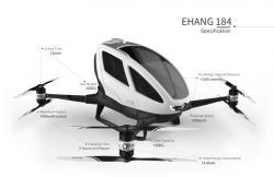 """Čínský EHang bude v Dubaji """"lidské zásilky"""" přepravovat ve výšce 300 metrů nad zemí až 100 kilometrovou rychlostí. Zatím jen vybranými trasami s maximální dobou letu do půl hodiny."""