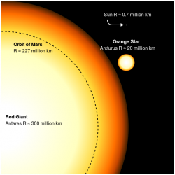 Vizualizace obří hvězdy Arcturus (Arktur) ze souhvězdí Pastýře (druhá nejmenší hvězda vpravo). Patří ke stálicím, které mohli pozorovat již neptačí dinosauři na druhohorním nebi. GigantickýAntares naopak ještě neexistoval, jeho stáří je odhadováno jen na přibližně 12 milionů let. Kredit: Sakurambo, Wikipedie