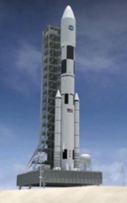 Raketa SLS ve finální konfiguraci. Zdroj: http://media.al.com/