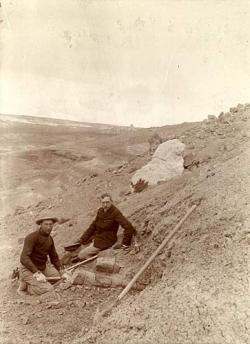 Barnum Brown (vlevo) s Henry F. Osbornem na vykopávkách u Como Bluff v roce 1897. Zde šlo ještě o dinosaury z období pozdní jury. Za několik let ale Brown objeví a o tři roky později Osborn formálně popíše také prvního tyranosaura. Autor snímku: Harold William Menke, převzato z Wikipedie