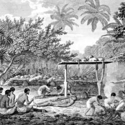 Lidská oběť na Tahiti. Kredit: volně dostupné (cca 1773)