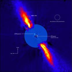 Kompozitní snímek v blízké infračervené oblasti 3,6m teleskopu ESO. Vnitřní část snímku pořídil Very Large Telescope.   Kredit: ESO/A.-M. Lagrange et al.