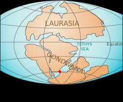 Falklandské ostrovy jsou přímo vmístech, kde se roztrhla Gondwana. Souhra okolností? Kredit: Lenny222, Martinvl / Wikimedia Commons.