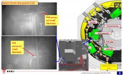 Ukázka záběrů pořízených při předposlední zastávce druhého robota (zdroj TEPCO).