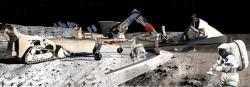 Umělecký koncept robotické tvorby základny a využívání místních zdrojů surovin. Kredit: Contour Crafting and University of Southern California