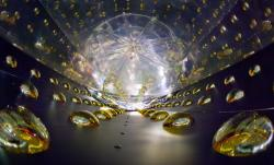 Pohled do vnitřní nádrže jednoho z detektorů, které se používají v Daya Bay. Velice dobře jsou vidět fotonásobiče po stranách. (Zdroj Roy Kaltschmidt, Berkeley)