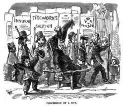"""Průvod """"váženého revolucionáře"""" Guye Fawkese zroku 1864. Kredit: Robert Chambers / Wikimedia Commons."""