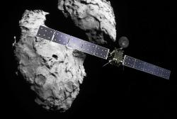 Rosetta a kometa. Kredit: ESA/ATG medialab; ESA/Rosetta/Navcam.