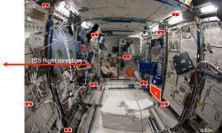 Rozmístění dozimetrů v evropském modulu Columbus na ISS v rámci projektů DOSIS a DOSIS 3D (zdroj ESA).
