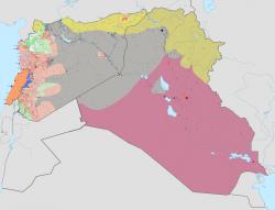 Aktuální geopolitická situace na Blízkém východě. Daeš tmavě šedě. Kredit: BlueHypercane761 / Wikimedia Commons.